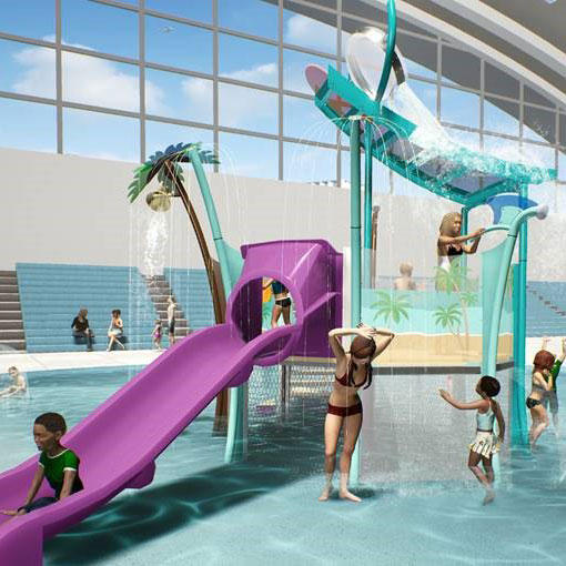3D rendering of a splash pad